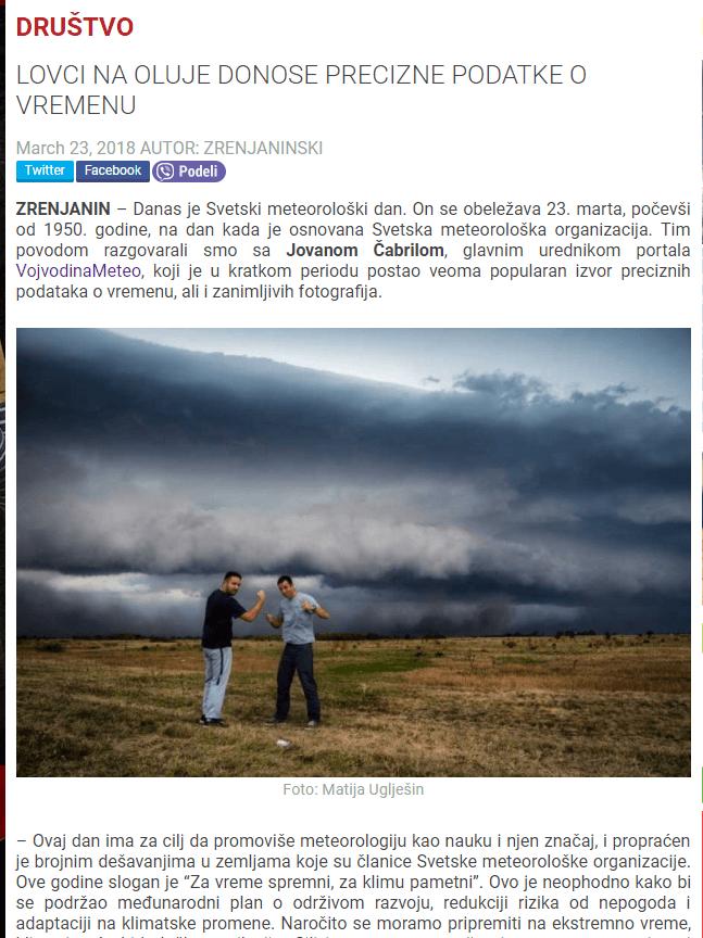 Portal Zrenjaninski o VojvodinaMeteo - 23. mart