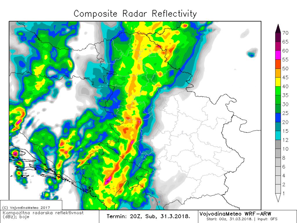 Projektovana radarska slika večeras oko 22h (ARW)
