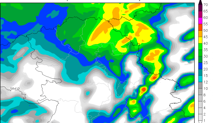 Radarska reflektivnost u subotu kasno poslepodne (ARW)