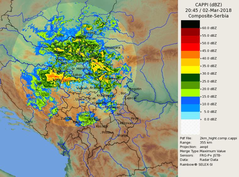 Radarska slika RHMZ 2145h - nove padavine konstantno stižu