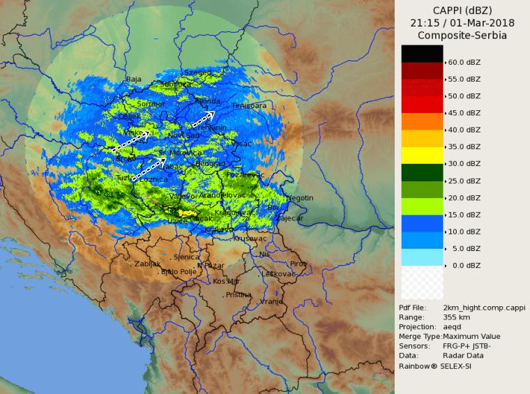 Radarska slika RHMZ za 2215h