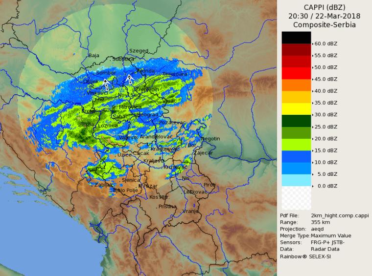 Radarska slika u 2130