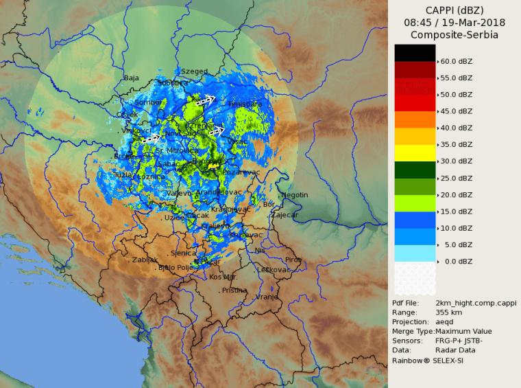 Radarska slika u 945h (RHMZ)