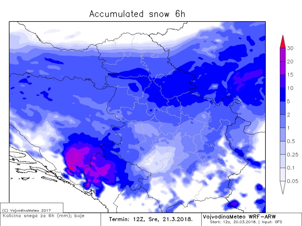Snežne padavine u sredu pre podne (ARW)