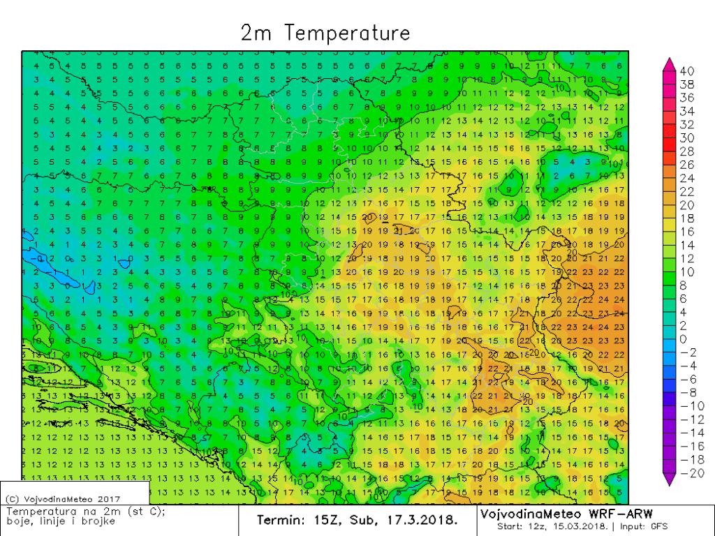 Temperatura na 2m poslepodne u subotu (ARW)