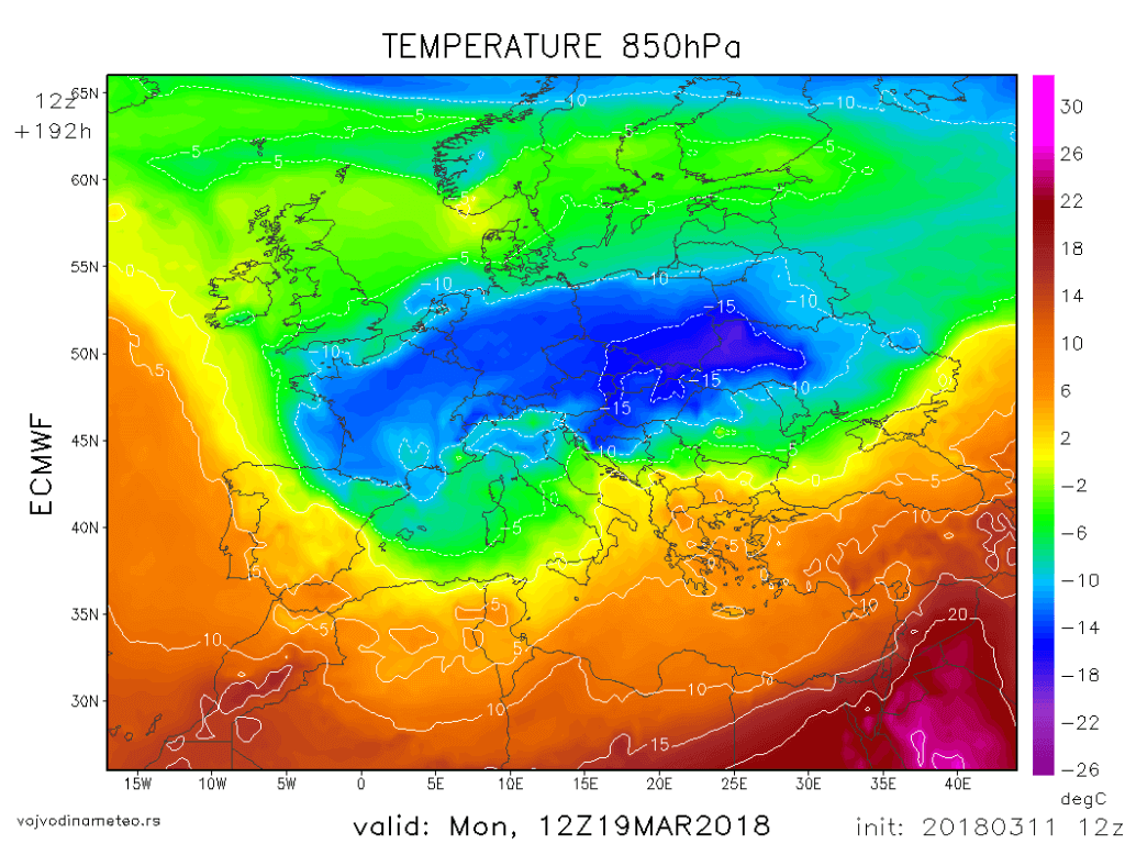 Temperatura na 850hPa u ponedeljak 19. marta (ECMWF)