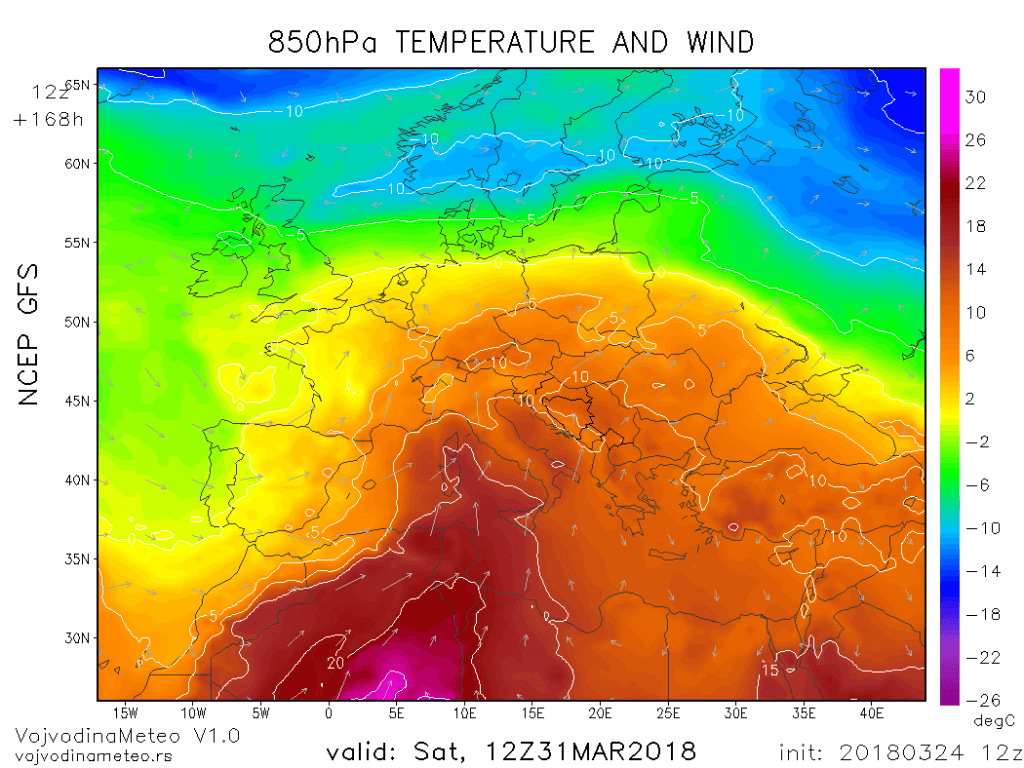 Temperatura na oko 1500m 31. marta (GFS)