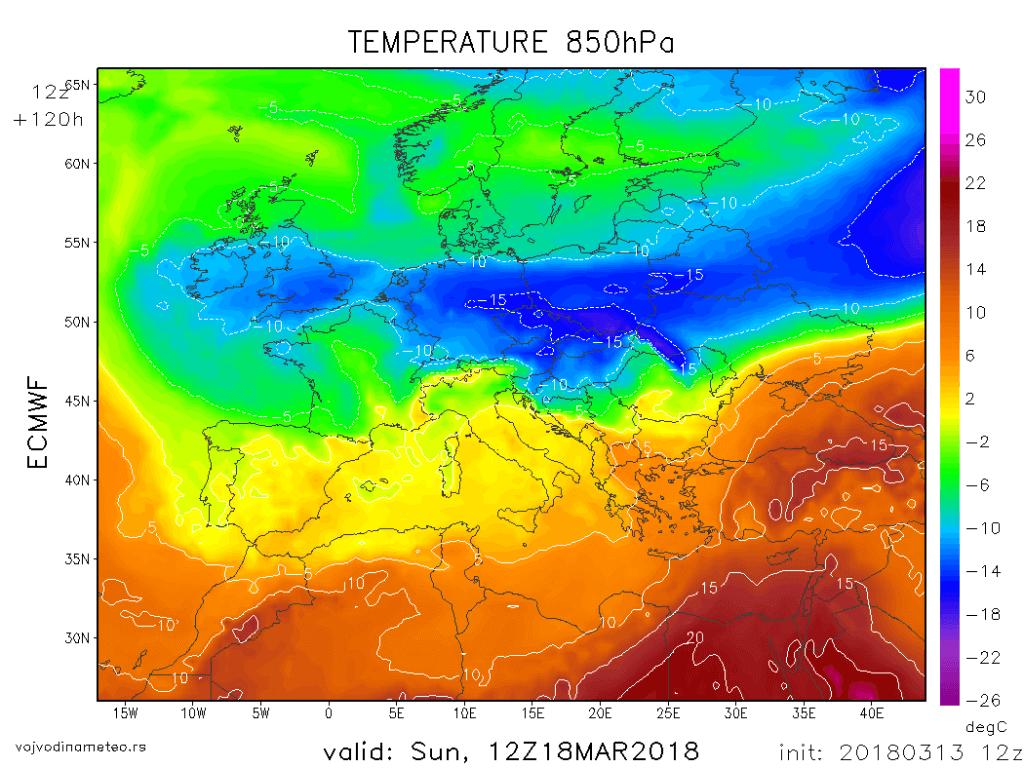 Temperatura na oko 1500m u nedelju (ECMWF)