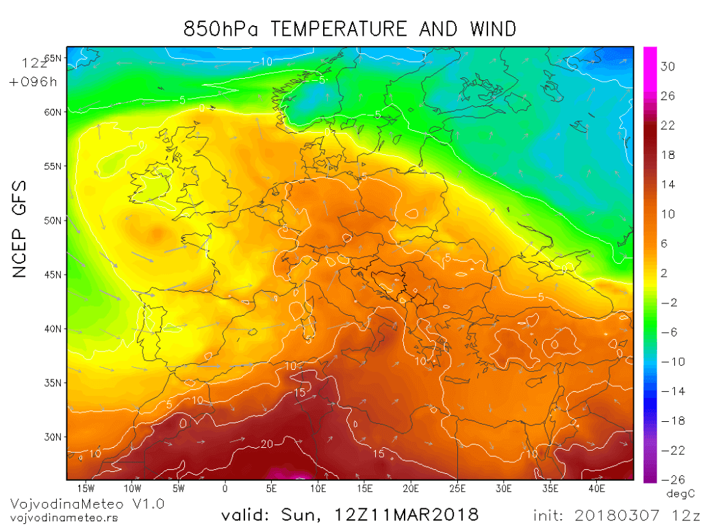 Temperatura na oko 1500m u nedelju (GFS)
