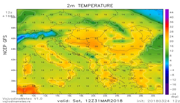 Tmax 31 marta region (GFS)