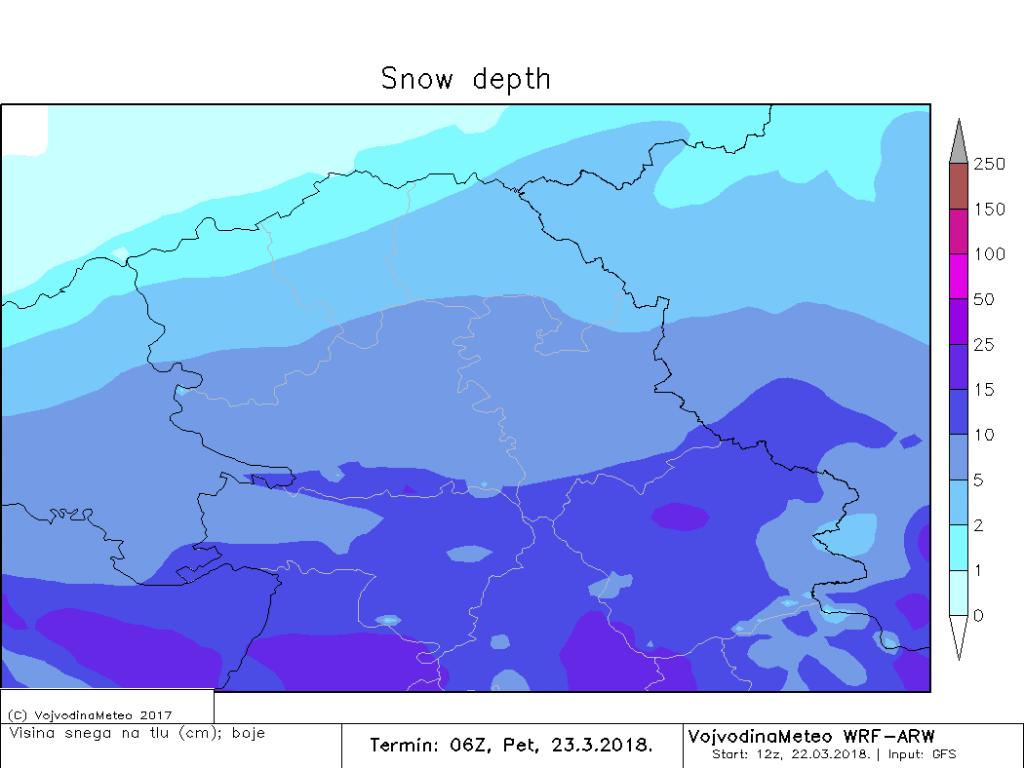 Visina snežnog pokrivača u petak ujutru (ARW)