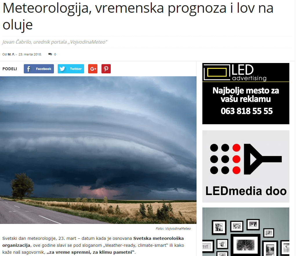 VojvođanskeVesti o VojvodinaMeteo - 23. mart