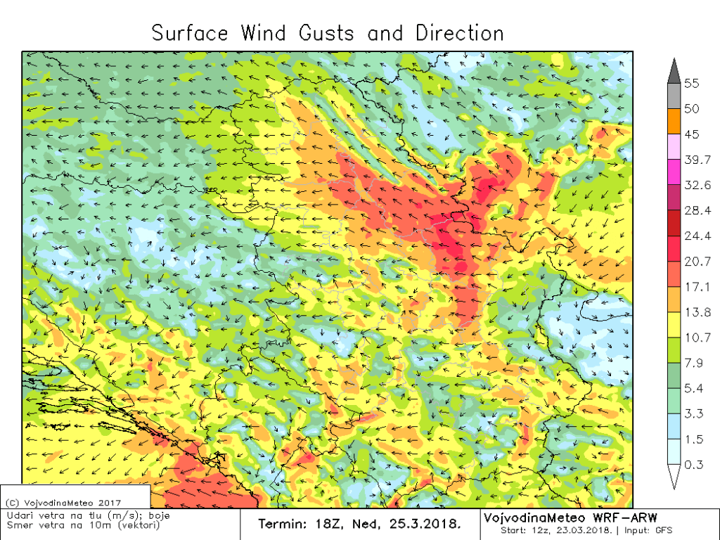 WRW-ARW numerički model - jak vetar u košavskom području u nedelju