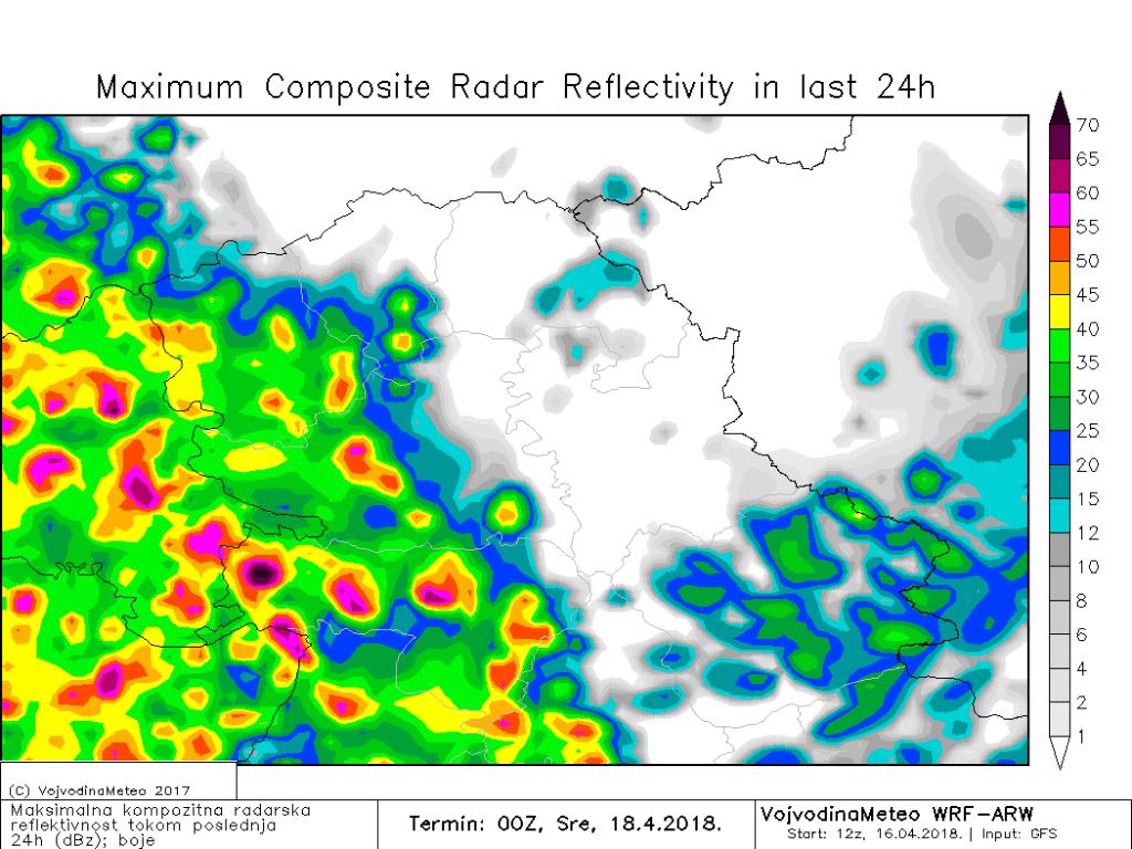 Kiša i pljuskovi sa grmljavinom u utorak (ARW)