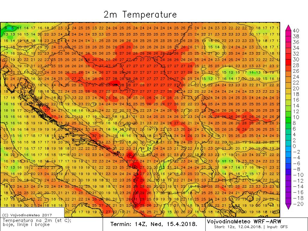 Maksimalne temperature u širem regionu u nedelju (ARW)