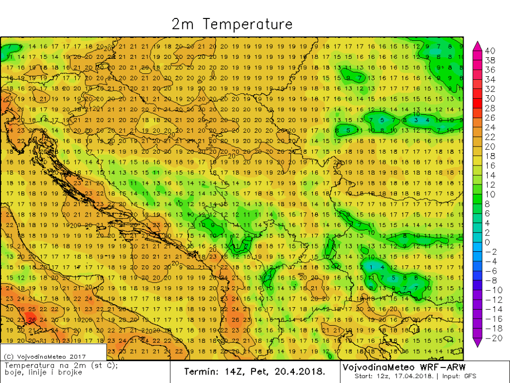 Maksimalne temperature u širem regionu u petak (ARW)