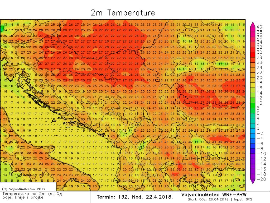 Maksimalne temperature u nedelju u širem regionu (ARW)