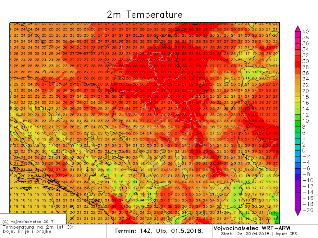 Maksimalne temperature u utorak 1. maja (ARW)