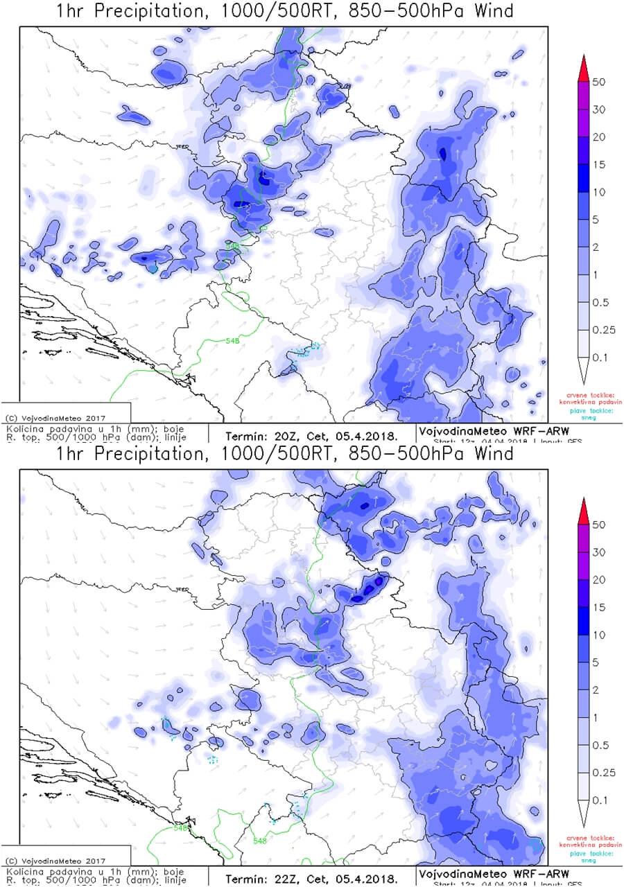 Uveče lokalno obilnije padavine (ARW)