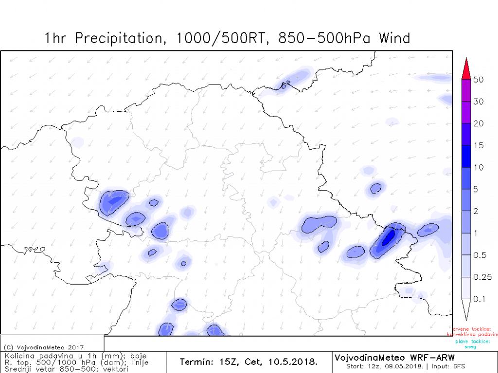 Lokalne padavine u četvrtak popodne (ARW)