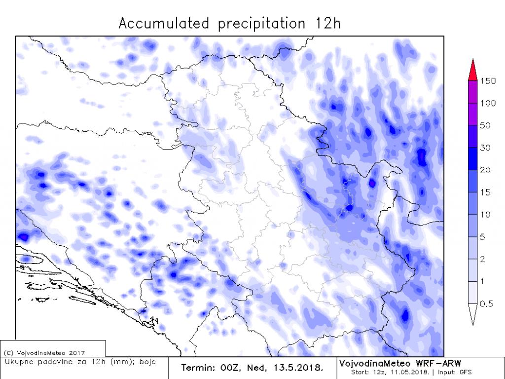 Lokalne padavine u subotu poslepodne širom zemlje (ARW)