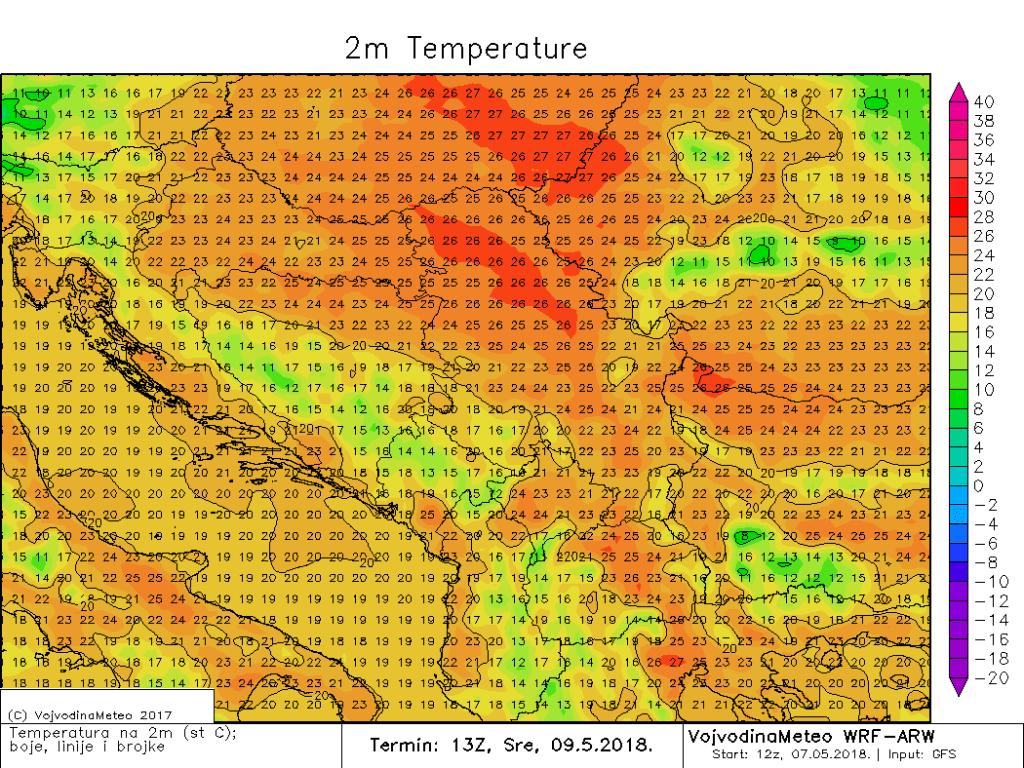Maksimalne temperature u širem regionu u sredu (ARW)