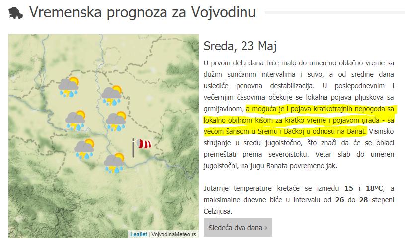 VojvodinaMeteo prognoza za sredu 23. maj