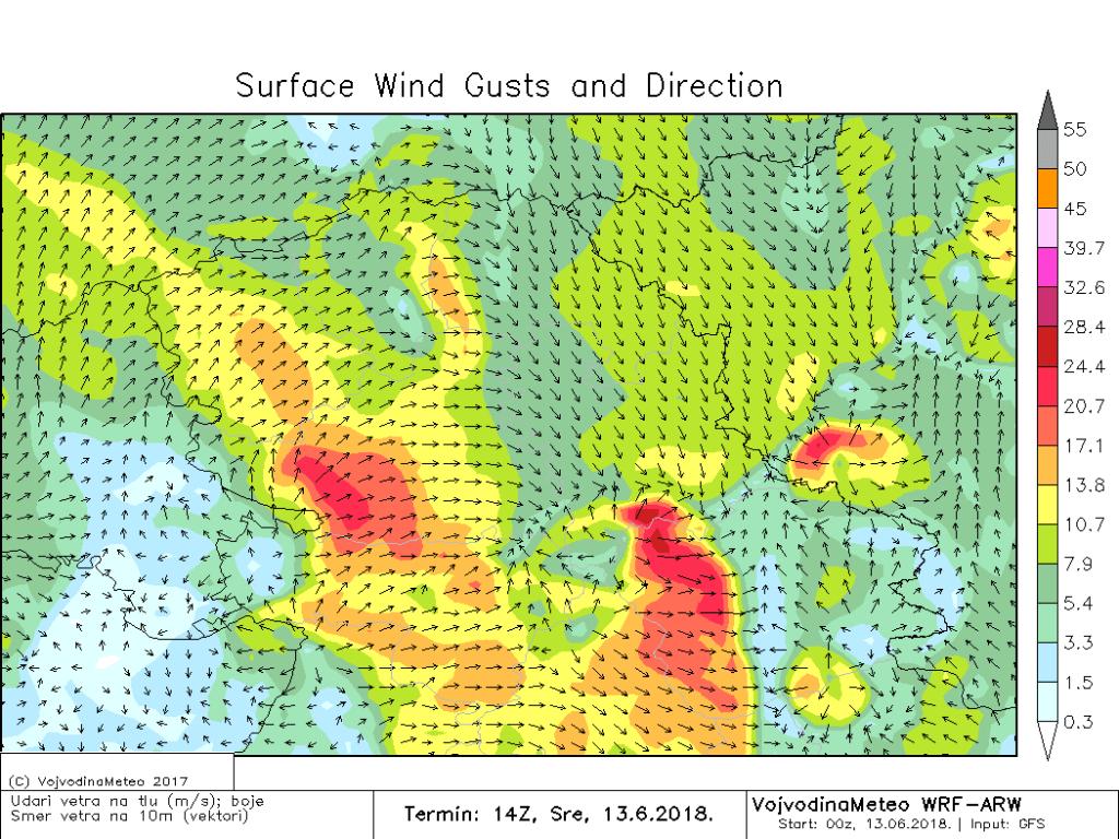 Jaki i olujni udari vetra danas poslepodne (ARW)