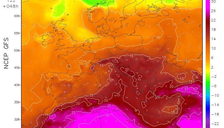Jezik toplog vazduha iznad Balkana u utorak (GFS)