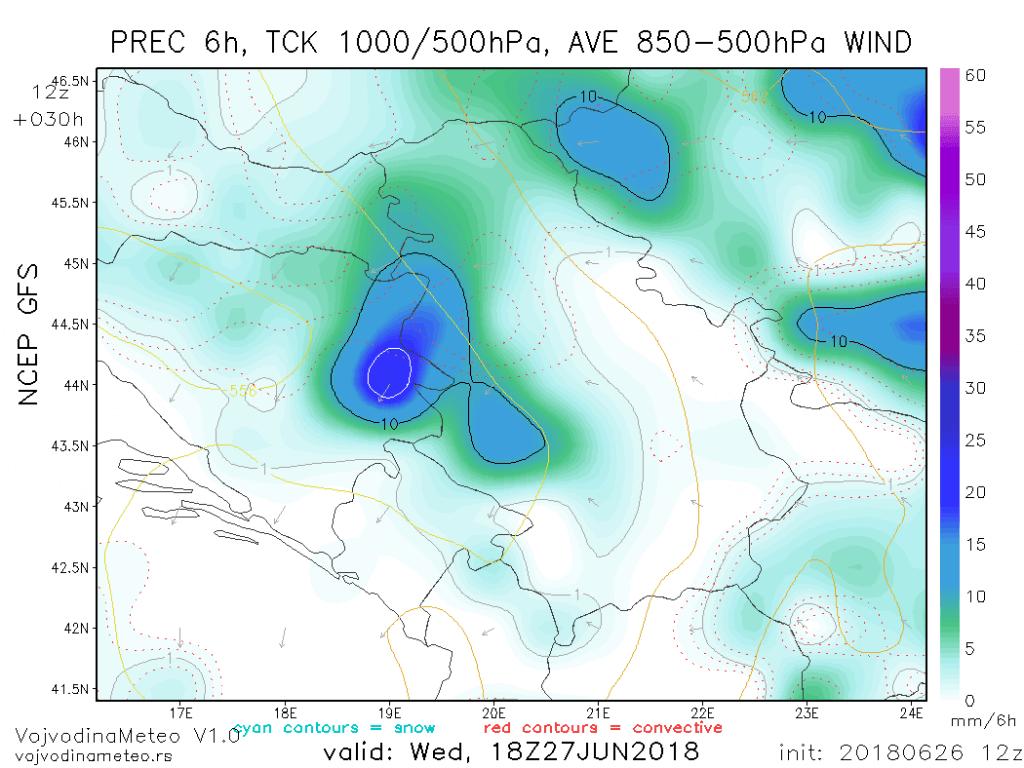 Padavine u sredu poslepodnevnim časovima - 6h akumulacija (GFS)