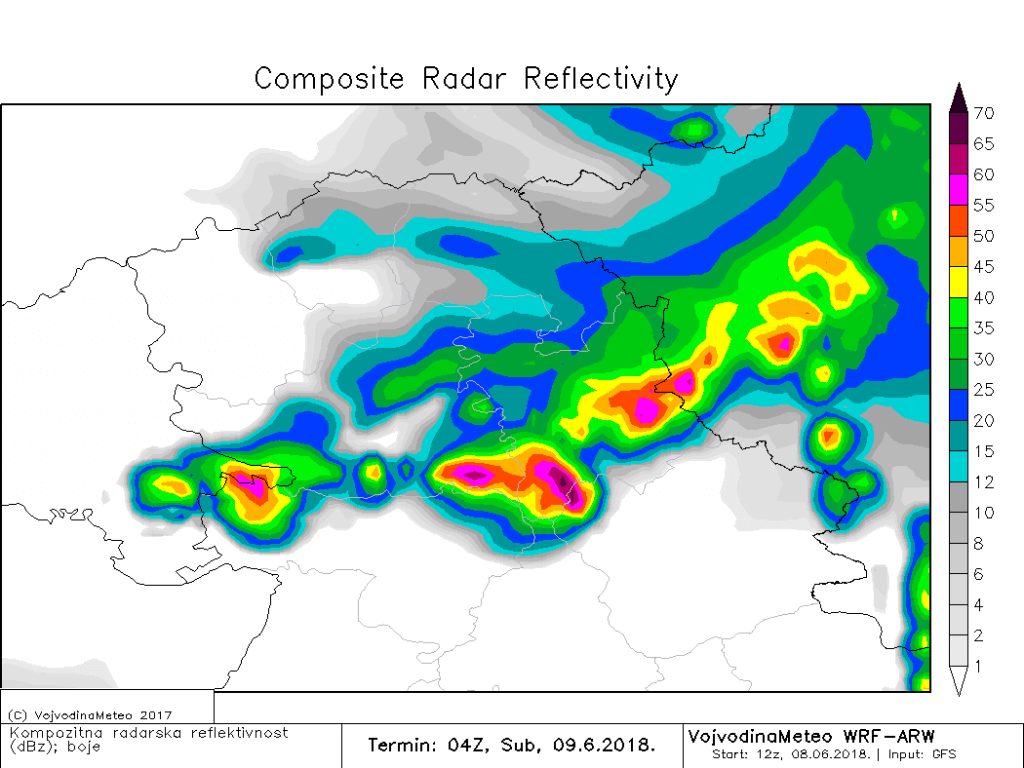 Simulacija radarske slike - noć ka suboti donosi lokalno jak konvektivni razvoj