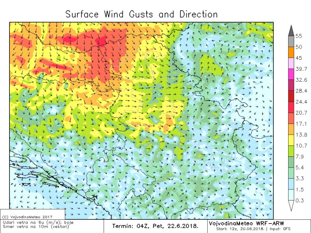 Udari vetra u petak ujutru i do 20m/s (ARW)