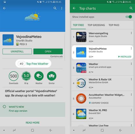 Aplikacija zauzima drugo mesto među besplatnim aplikacijama iz Weather kategorije