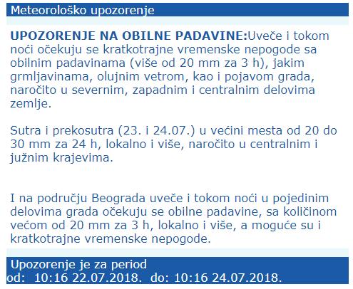 Upozorenje RHMZ Srbije