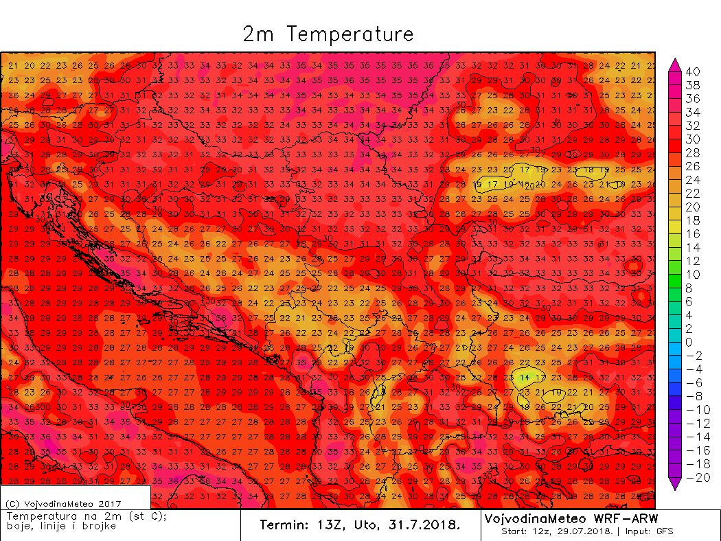 Vrlo visoke temperature u regionu u utorak (ARW)