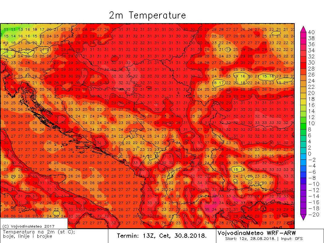 Maksimalne dnevne temperature u regionu u četvrtak (ARW)