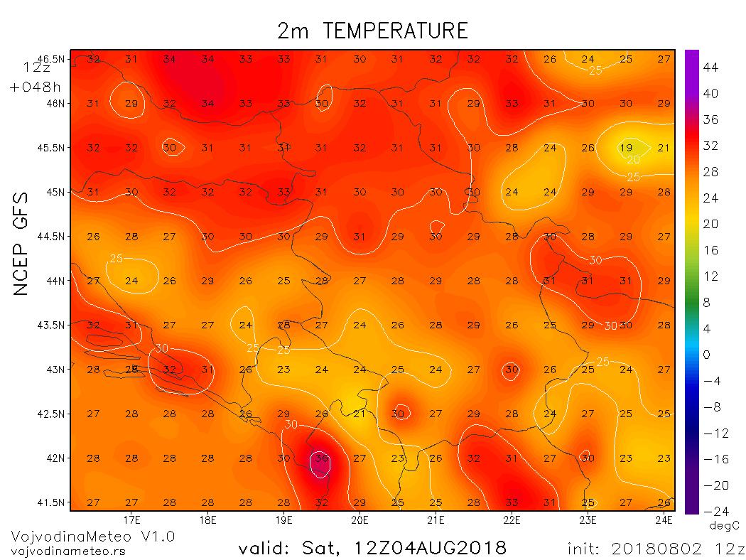 Maksimalne temperature u subotu prema GFS modelu