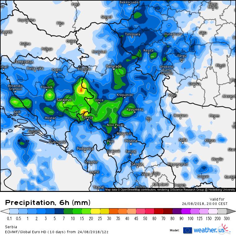 Projektovana količina padavina u nedelju popodne (Izvor: ECMWF / weather.us)
