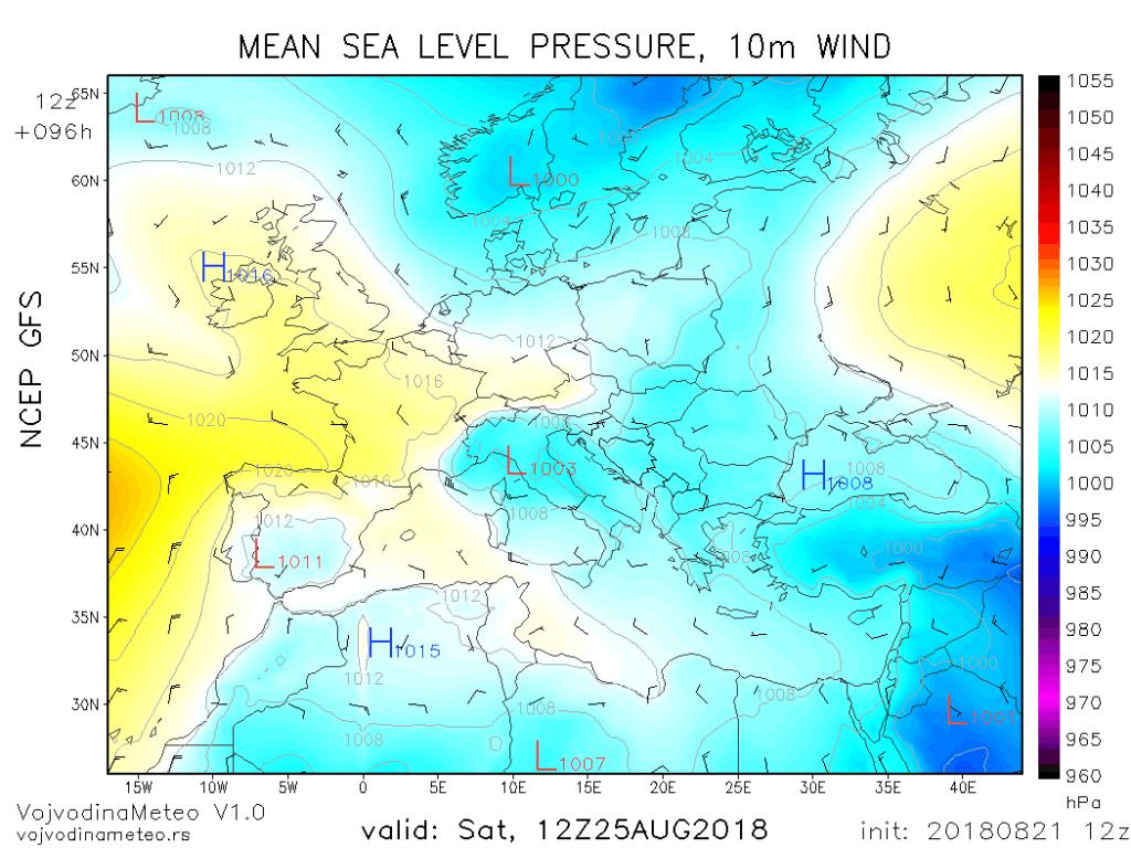 Sinoptička situacija u subotu i ciklon u Đenovskom zalivu (GFS)