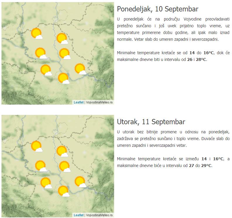 Isečak iz naše trodnevne prognoze za Vojvodinu i Beograd