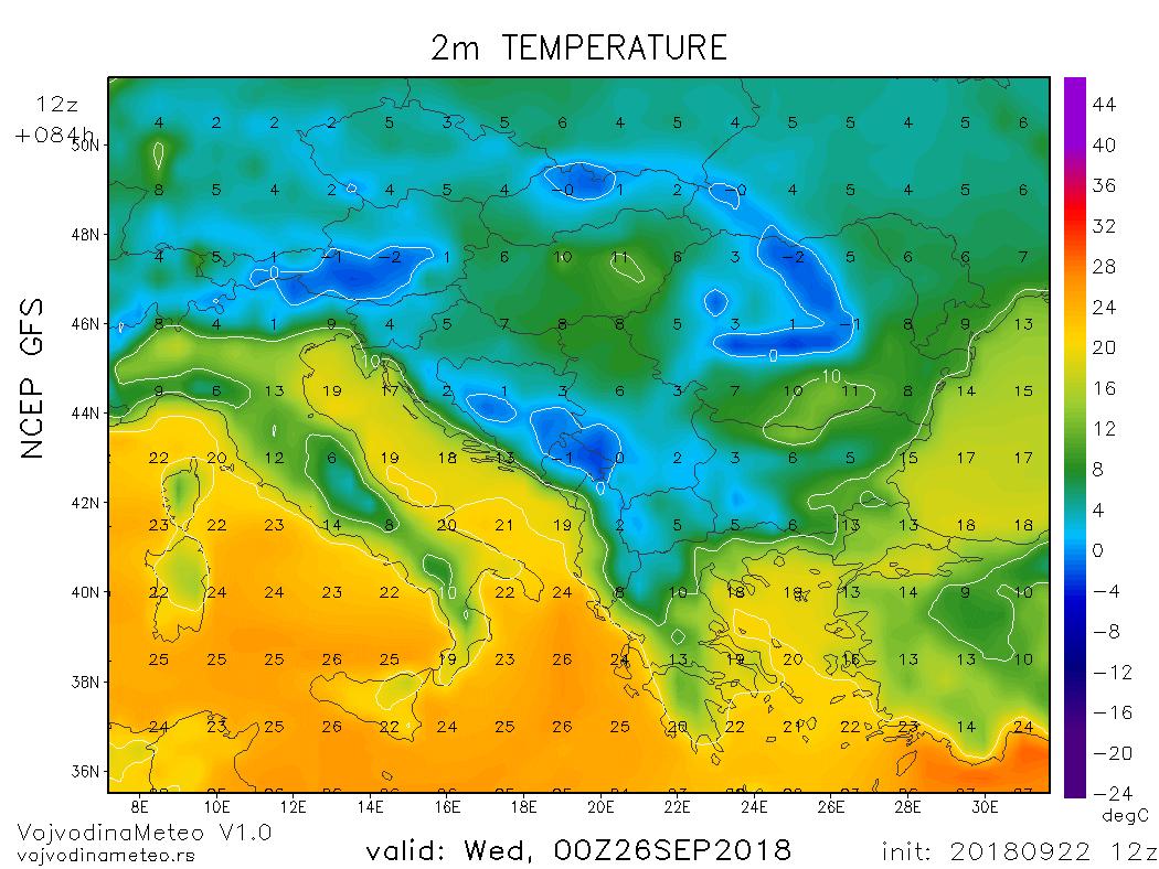 Noćne temperature u regionu u sredu (GFS model)