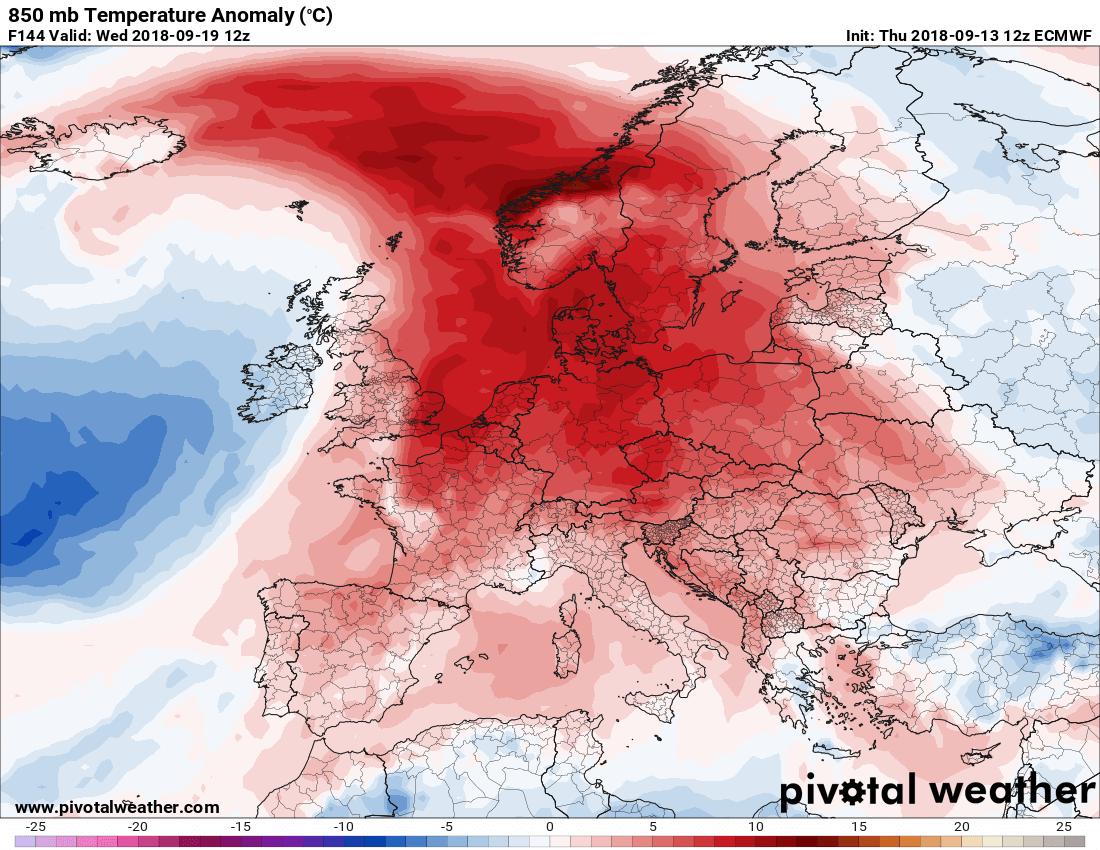 Odstupanje temperature od normale na 1500m u sredu (ECMWF)