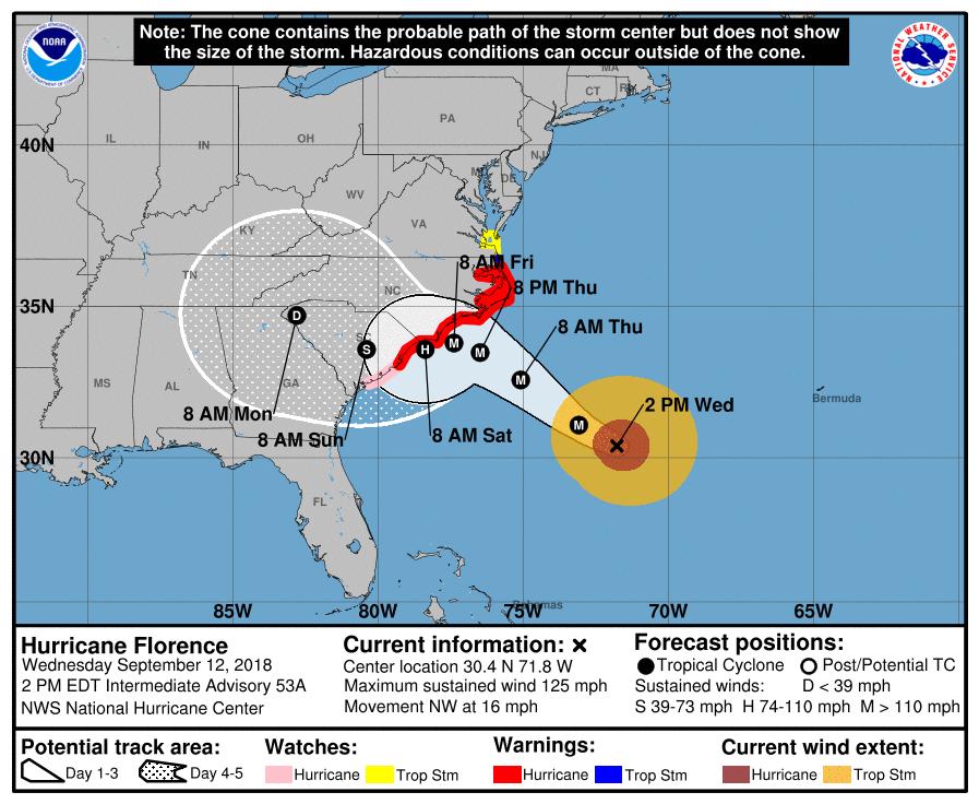 Prognozirano kretanje uragana Florens u narednih 3-5 dana