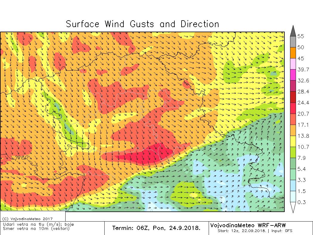 Snažni udari vetra u ponedeljak ujutru (ARW model)