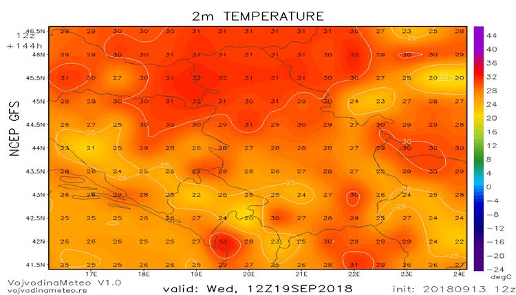 Sredinom sledeće sedmice ponovo oko 30°C (GFS)