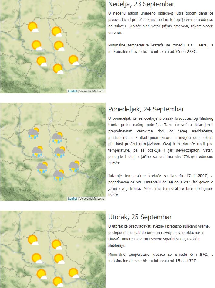 Trodnevna prognoza za Vojvodinu - 23 do 25 septembar