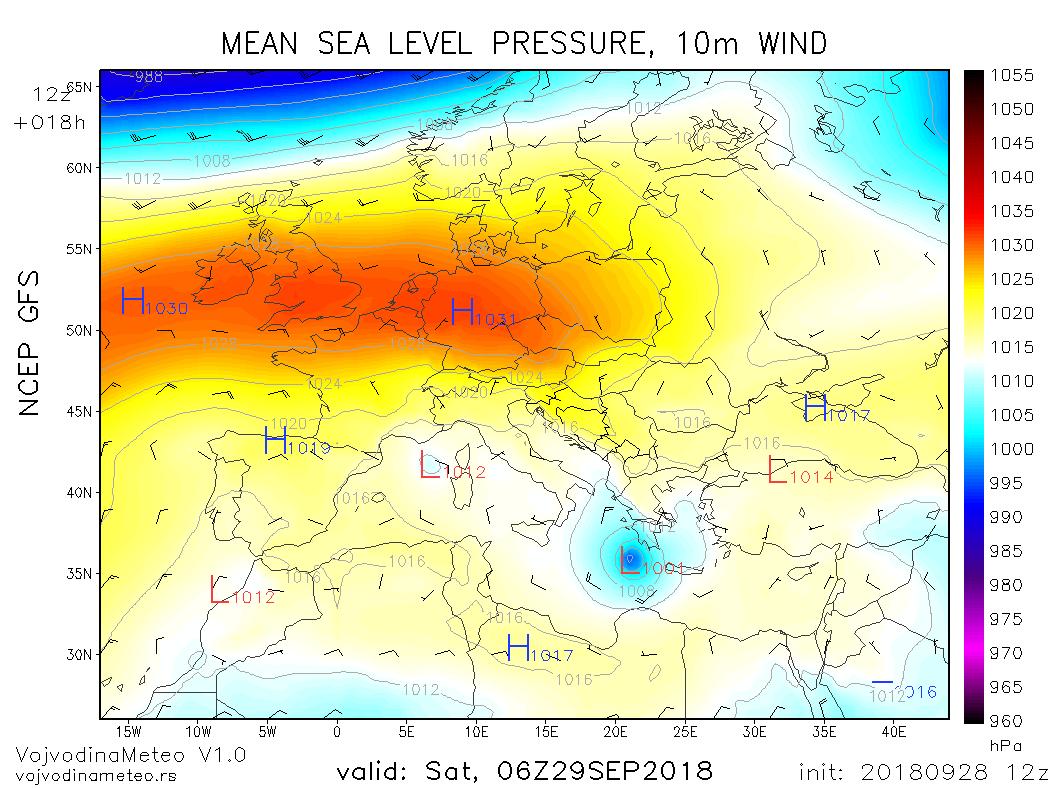 Tropski ciklon blizu obale Grčke u subotu ujutru (GFS)