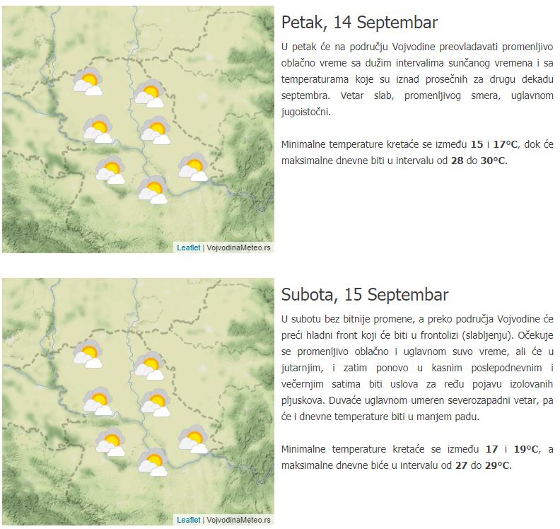 VojvodinaMeteo prognoza za petak i subotu