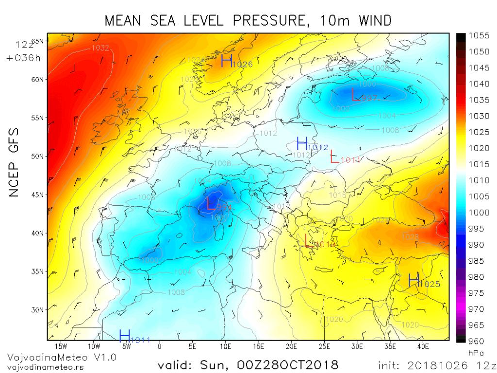 Ciklon u Đenovskom zalivu - noć na nedelju 28. okt (GFS)