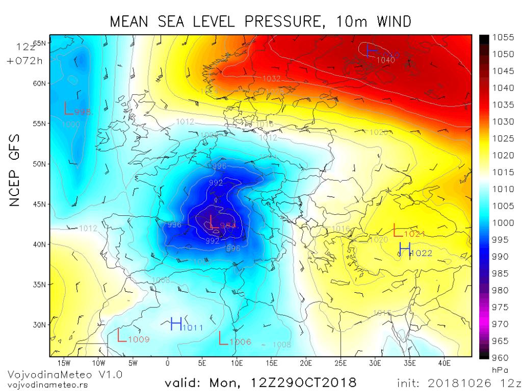 Dubok ciklon uz izražen gradijent pritiska u Sredozemlju - ponedeljak 29. okt (GFS)